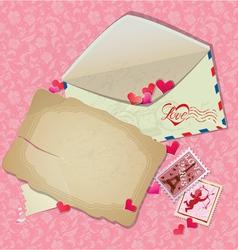 Vintage postcard envelope post stamps paper hearts vector image vector image