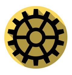 gear sign flat black icon with flat vector image