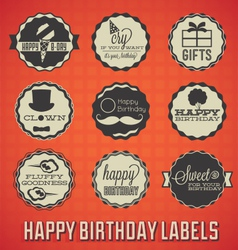 Happy Birthday Labels and Icons vector image vector image