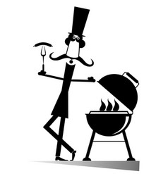man and barbecue isolated vector image