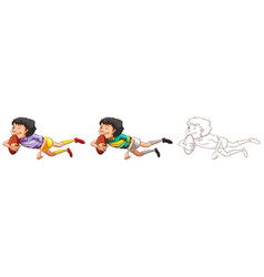man playing rugby in three different drawing vector image vector image