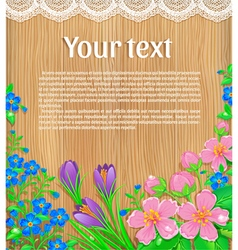 Wooden banner with flowers text vector image vector image