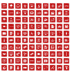 100 website icons set grunge red vector image