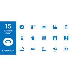 15 bathroom icons vector