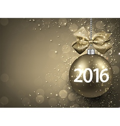 2016 New year golden background with bauble vector