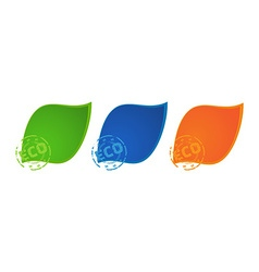 3 colored icons green blue and orange colors with vector image