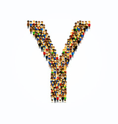 A group of people in of english alphabet letter y vector