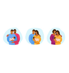 A set lgbt couples with children gays vector