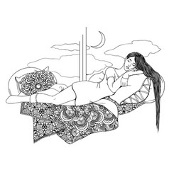 A young girl with long hair sleeps on patterned vector