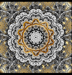 Abstract mandala on a black white and gray colors vector