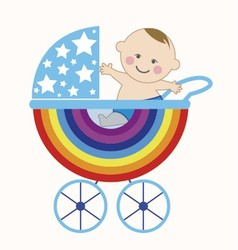 Baby in the rainbow vector