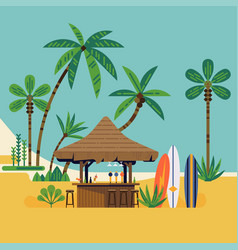 beach bar surrounded with palm trees vector image