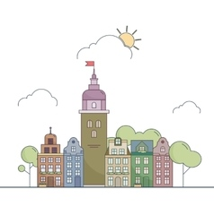 Beautiful outline city landscape little colorful vector