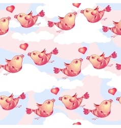 Birds and hearts on cloudy background vector image