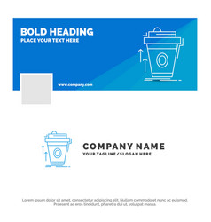 Blue business logo template for product promo vector