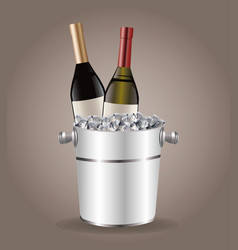 bottle wine cooler ice drink image vector image