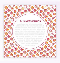 business ethics concept with thin line icons vector image