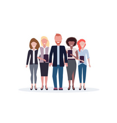 Businesspeople standing together mix race business vector