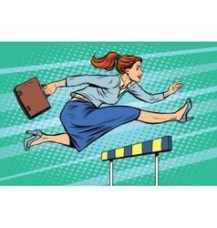 Businesswoman running hurdles vector