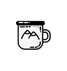 Camping metal cup icon flat of camping metal cup vector