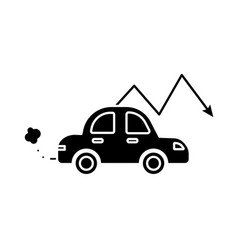 Car polluting with arrow down flat style vector