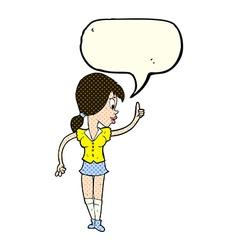 Cartoon girl with idea with speech bubble vector