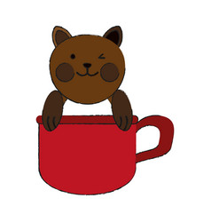 Cat inside cup cartoon pet animal icon image vector