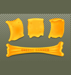 cheese or curd templates set banners vector image