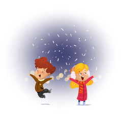 child looking snow falling with his mouth open vector image