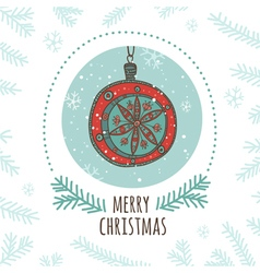 Christmas greeting card with bauble round vector