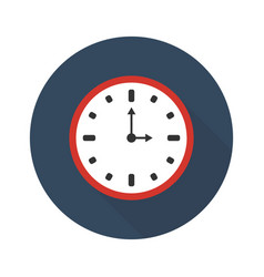 clock icon with a shadow flat sign vector image