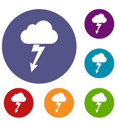Cloud with lightning icons set vector