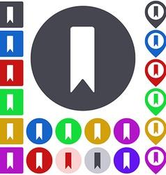 Color bookmark icon set vector