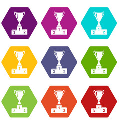 cup icons set 9 vector image