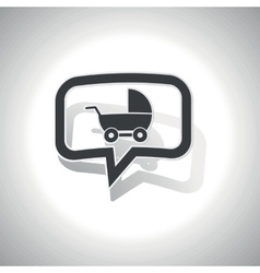 Curved pram message icon vector