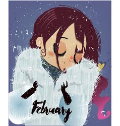Cute cartoon winter girl vector
