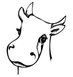 cute cow graphics portrait as a sigh 2021 year vector image