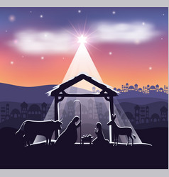 Cute holy family and animals in stable manger vector