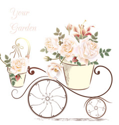 Cute with rose flowers in a potter your garden vector