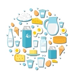 Dairy products icon set in the shape of circle vector