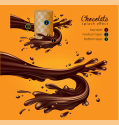 Design of chocolate advertising multilayer vector