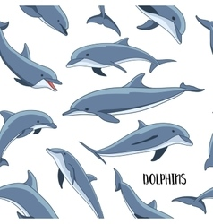 Dolphins set pattern vector