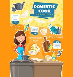 domestic cook cooking utensil and housewife vector image