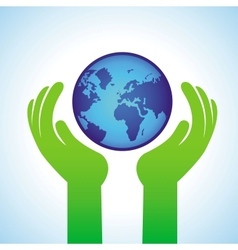 ecology concept - hands holding globe icon vector image