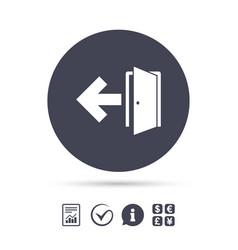 emergency exit sign icon door with left arrow vector image