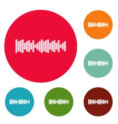 equalizer sound icons circle set vector image