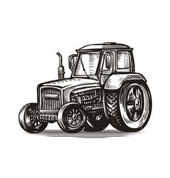 farm tractor sketch agriculture farming vector image