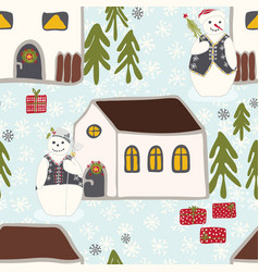festive winter snowman village seamless christmas vector image