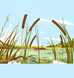 fisherman fishing in pond vector image