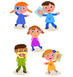 Five senses cartoon kids vector